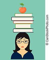 sad girl with books and apple