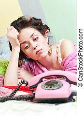 sad girl with phone