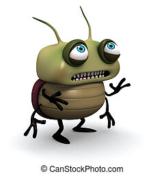 Virus; Bacterium; Monster; Cartoon; Characters; Micro; Computer Bug; Bug; Biology; sad; Parasitic; Aggression; Ugliness; Multi Colored; green; Magnification; beetle; Organism; Furious; infected; Germs; unhygienic; dirt; filth; 3d;