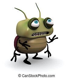 sad green bug - Virus; Bacterium; Monster; Cartoon; ...