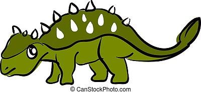 Sad green dinosaur, illustration, vector on white...