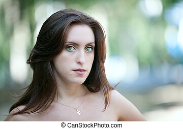 sad green-eyed girl