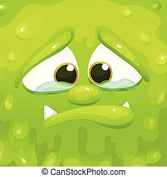 Sad green monster inside a cube frame, squishy slime alien crying holding back tears.