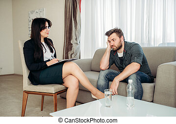 Sad hasband at psychologist, psychology support