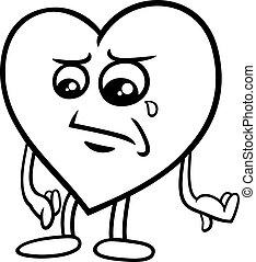 sad heart coloring page