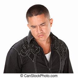 Sad Hispanic Man - Sad middle-aged Native American man on ...