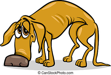 sad homeless dog cartoon illustration - Cartoon Illustration...