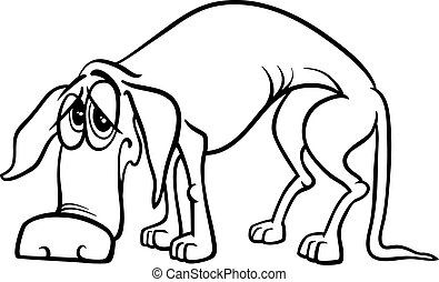 sad homeless dog coloring page - Black and White Cartoon...