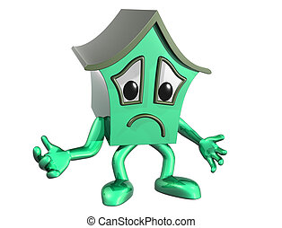 Sad house - Isolated illustration of a very unhappy cartoon...