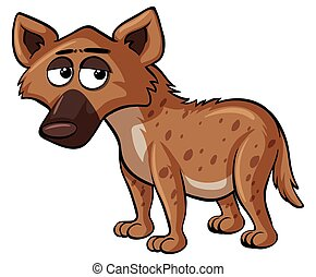 Sad hyena on white background