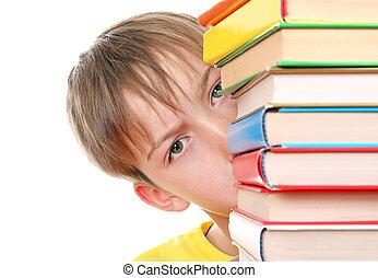 Sad Kid behind the Books