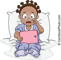 Sad Kid Girl African Tablet Crying - Illustration of a Sad...