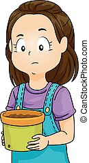 Sad Kid Girl Soil Pot - Illustration of a Little Girl...