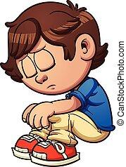 Sad kid sitting. Vector clip art illustration with simple...