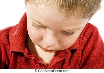 Sad Kid - Stock image of sad child over white background