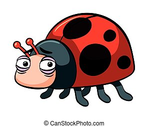 Sad ladybug on white background