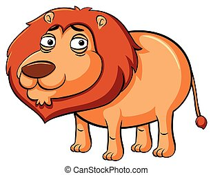 Sad lion on white background