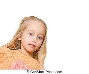 Sad little blond girl