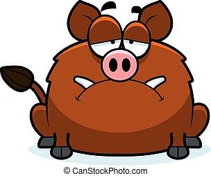 A cartoon illustration of a boar looking sad.