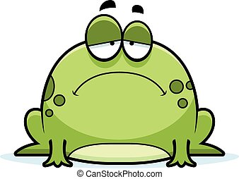 Sad Little Frog - A cartoon illustration of a frog looking...