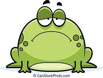 A cartoon illustration of a frog looking sad.