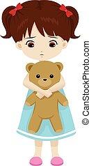 Sad Little girl holding a teddy bea