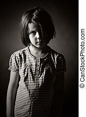 Sad Little Girl - Low Key Black and White Shot of a Sad ...