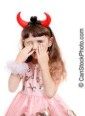 Little Girl with Devil Horns - Sad Little Girl with Devil ...