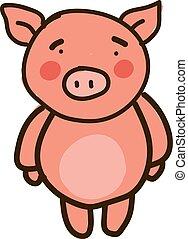 Sad little pig, illustration, vector on white background.