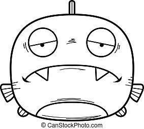 Sad Little Piranha - A cartoon illustration of a piranha...