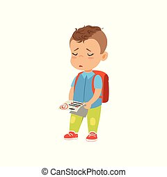 Sad little schoolboy holding test paper with bad mark vector Illustration on a white background