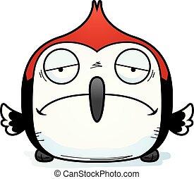 Sad Little Woodpecker - A cartoon illustration of a...