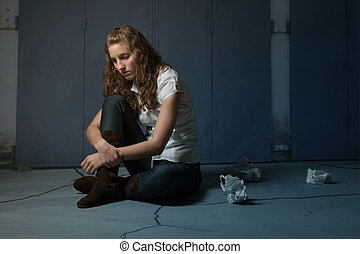 Sad lone girl
