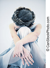 Sad Lonely 10 Year Old Girl in Dress - Sad and Lonely ten...