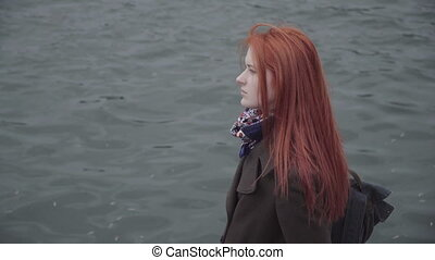 Sad lonely ginger woman