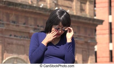 Sad Lonely Woman Wearing Sunglasses And Wig