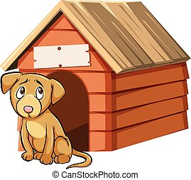 Sad looking dog in front of doghouse