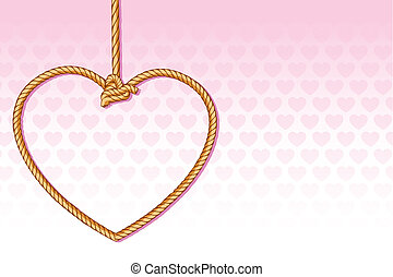 Sad Love - illustration of heart shape execution rope on...