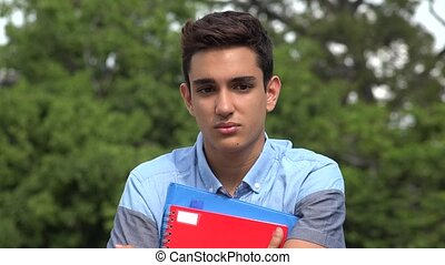 Sad Male Hispanic Student Teenager