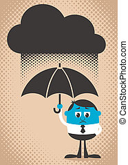 Sad Man - Conceptual illustration of sad and blue man. Use...