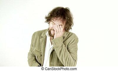 Sad man crying desperate - Unhappy depressed man crying...