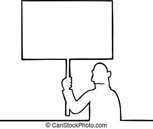 Sad man holding a protest sign - Black line art illustration...