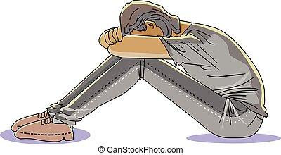 Sad Man, Head on Knees, vector illustration