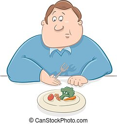 sad man on diet cartoon