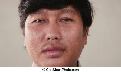 Sad man portrait, emotions - Portrait of real Asian people,...