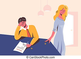 Sad man signing the divorce documents at the table and disappointed woman taking her wedding ring off. Unhappy couple in heartbreak. Ex-husband and ex-wife separated. Stressful situation in family.