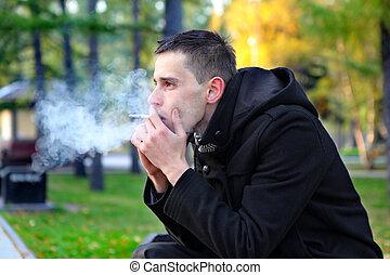 Sad Man Smoking