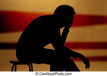 sad man - a man locked in his sad thoughts