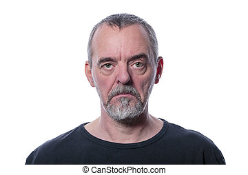 sad man with beard, isolated on white