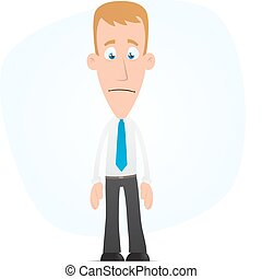 Sad manager - Illustration of a cartoon cute character for...
